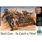 Masterbox Models . MTB 1/35 Desert Battle: Skull Clan Thief & Warrior Riders (2) on Motorcycle w/Sidecar