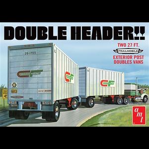 AMT\ERTL\Racing Champions.AMT 1/25 Double Header Tandem Van Trailers