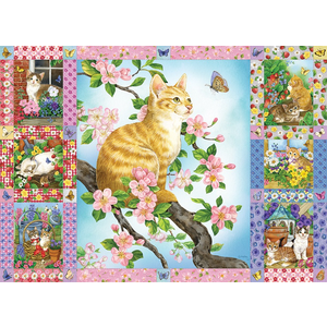 Cobble Hill . CBH Blossoms and Kittens Quilt Puzzle 1000pc