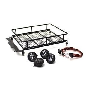 Racers Edge . REG 1/10 Scaler Metal Mesh Roof Rack, Round Lights - Black