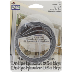 "Plaid (crafts) . PLD Black .125"" Thick - Gallery Glass Instant Lead Lines 24"" 8/Pkg"