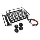 Racers Edge . REG 1/10 Scaler Metal Grid Roof Rack, Round Lights - Black
