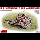 Miniart . MNA 1/35 US Motorcycle WLA w/Rifleman