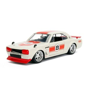 Jada Toys . JAD 1/24 1971 Nissan Skyline 2000 GT-R - White with Red