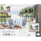"""Dimensions . DMS Paint Works Paint By Number Kit """"Lakeside Morning"""" 20"""" X 16"""""""