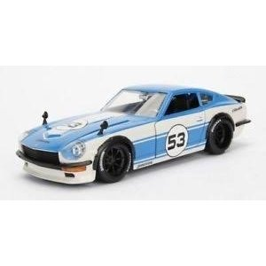 "Jada Toys . JAD JDM Tuners Metals Die Cast"" 1/24 1972 Datsun 240Z - 7527C White and 3005C Blue"