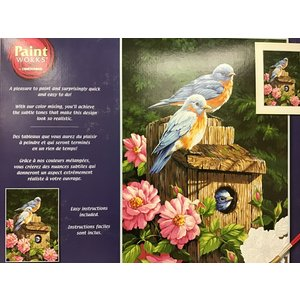 Dimensions . DMS Garden Bluebirds w/Birdhouse Paint By Number