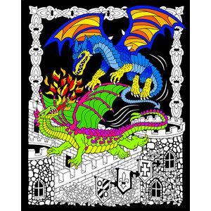 Stuff To Color . SFC 16x20 Velvet Dueling Dragons