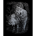 """Royal (art supplies) . ROY Wolf in the Trees - Silver Foil Engraving Art Kit 8""""X10"""" Nature Animals Calgary"""