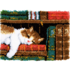 "Vervaco . VVC Cat On Bookshelf Latch Hook Rug Kit 21.25""X15.5"" Animals Art Books Calgary"