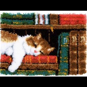 "Vervaco . VVC Cat On Bookshelf Latch Hook Rug Kit 21.25""X15.5"""