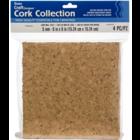 "Darice . DAR Cork Collection Tiles-6""X6""X5mm 4/Pkg"