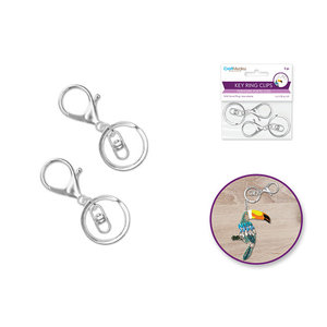 MultiCraft . MCI Key Ring Clip x2 w/Swivel Ring - Silver Tone