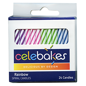 """CK Products . CKP Celebakes Rainbow Spiral Candles, 2.25"""", 24 Count"""