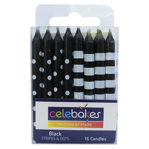 """CK Products . CKP Celebakes Black Stripes & Dots Candles, 2.5"""", 16 Count"""