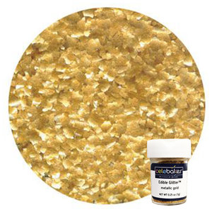 CK Products . CKP CB Metallic Gold Edible Glitter Flakes 1/4 oz