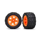 Traxxas Corp . TRA Traxxas Tires & Wheels, Assembled, Glued (2.8') (Rustler 4X4 Orange Wheels, Talon Extreme Tires, Foam Inserts) (2)