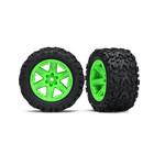Traxxas Corp . TRA Traxxas Tires & Wheels, Assembled, Glued (2.8') (Rustler 4X4 Green Wheels, Talon Extreme Tires, Foam Inserts) (2)