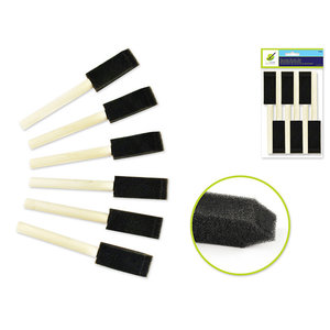 "MultiCraft . MCI Color Factory: Sponge Brush 6/pk 1"" w/Wood Handle"