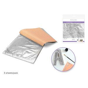 MultiCraft . MCI Paper Craft Embellishment: Metallic Foil Leaf Sheets x6 B) Silver