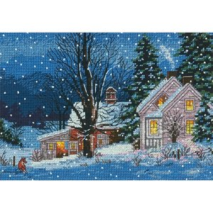 """Dimensions . DMS Counted Cross Stitch Kit 7""""X5"""" Quiet Night (18 Count)"""