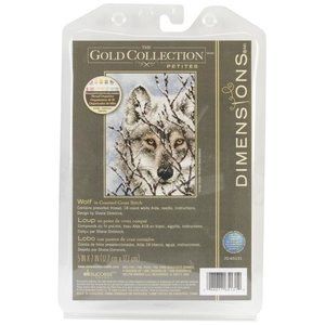"""Dimensions . DMS Gold Petite Counted Cross Stitch Kit 5""""X7"""" Wolf"""