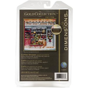 """Dimensions . DMS Gold Petite Counted Cross Stitch Kit 6""""x6"""" Coffee Shop"""