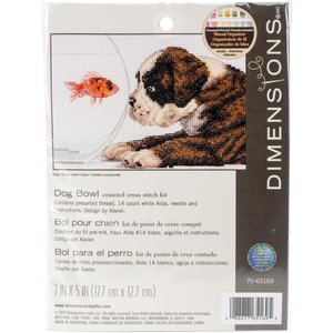 """Dimensions . DMS Counted Cross Stitch Kit 7""""X5"""" Dog Bowl"""