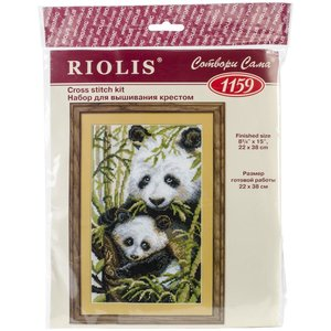 """RIOLIS . RIO Counted Cross Stitch Kit 8.75""""X15"""" Panda With Young (10 Count)"""