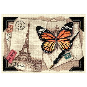 """Dimensions . DMS Gold Petite Counted Cross Stitch Kit 7""""X5"""" Travel Memories (18 Count)"""