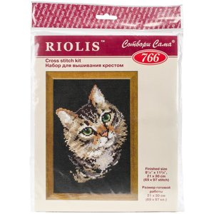 """RIOLIS . RIO Counted Cross Stitch Kit 8.25""""X11.75"""" Grey Cat (10 Count)"""