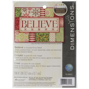 """Dimensions . DMS Mini Counted Cross Stitch Kit """"Believe"""""""
