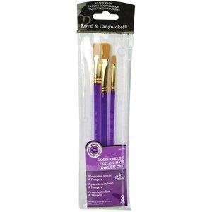 Royal (art supplies) . ROY Gold Taklon Value Pack Brush Set 3/Pkg