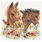 "Dimensions . DMS Stamped Cross Stitch Kit 12""X11"" Horse Friends"