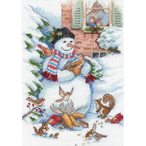 """Dimensions . DMS Gold Petite Counted Cross Stitch Kit 5""""X7"""" Snowman & Friends (18 Count)"""