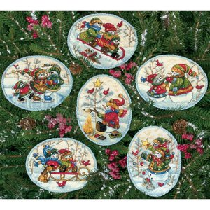 """Dimensions . DMS Gold Collection Counted Cross Stitch Kit 4.5"""" Playful Snowman Ornaments"""
