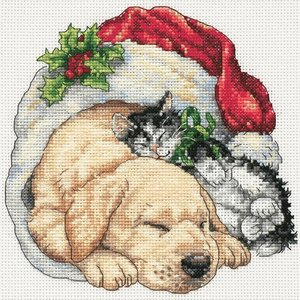 """Dimensions . DMS Gold Petite Counted Cross Stitch Kit 6""""X6"""" Christmas Morning Pets (18 Count)"""