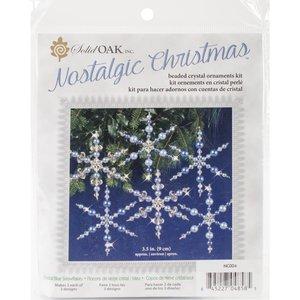 SOLID OAK . SDO Nostalgic Christmas Beaded Crystal Ornament Kit Blue Snowflakes