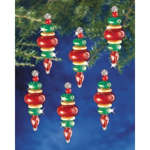 """Beadery . BDR Holiday Beaded Ornament Kit Victorian Baubles 2.25""""X.75"""" Makes 12"""