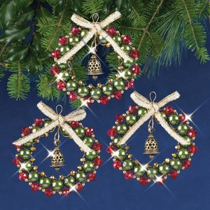 SOLID OAK . SDO Christmas Beaded Crystal Ornament Kit Ruby, Green & Gold Bell Wreaths