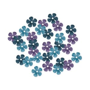 MultiCraft . MCI Handmade Paper Flowers 30/Pkg Dusk W/Pearl Calyx