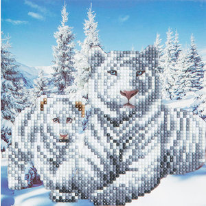 Crystal Art Kit . CAK White Tigers - Crystal Art Card