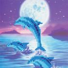Crystal Art Kit . CAK Dolphins - Crystal Art Card