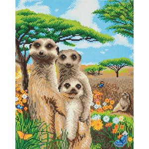 Crystal Art Kit . CAK Meerkat Family - Crystal Art Kit (Large)