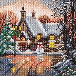 Craft Buddy . CBD Snowman Cottage - Crystal Art Kit (Medium)