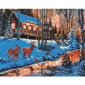 Craft Buddy . CBD Highland Cabin - Crystal Art Kit (Large LED)