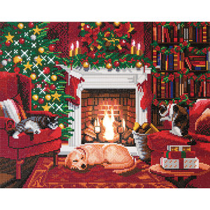 Crystal Art Kit . CAK Pets by the Fireplace - Crystal Art Kit (Large LED)