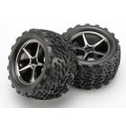 Traxxas Corp . TRA Pre-Mounted Talon Tires w/Gemini Wheels (Black Chrome) (2)