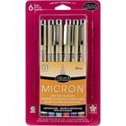 Sakura . SAK Pigma Micron Pens Black, Blue, Green, Red, Purple & Brown 01.25mm 6/Pkg
