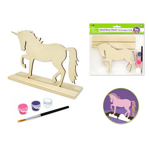 MultiCraft . MCI Krafty Kids Kit: 18x15cm DIY Wood Stand-Ups w/3 Paint Pots+Brush B) Unicorn